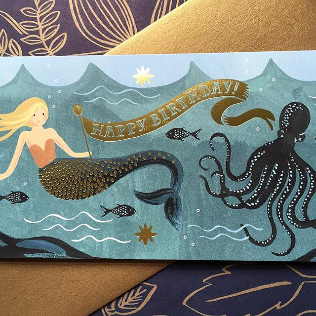 This has to be my new favourite card from Rifle Paper Co. Although there are so many lovely designs in the Summer Collection, it is quite difficult to choose! New designs will be available very soon! #riflepaperco #greetingcards #goldfoil #mermaids #stationeryaddict #stationery #happybirthdaytoyou #thatsdarling #happybirthday #cards