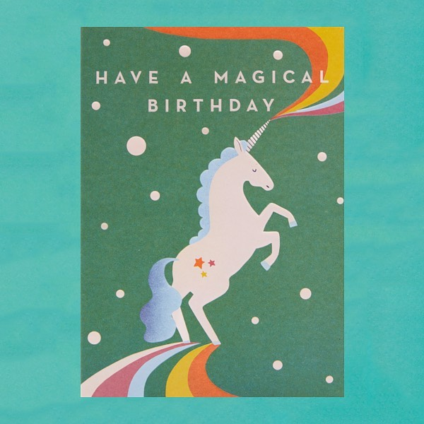 This lovely @lagomdesign unicorn friend by @naomipwilkinson rushes down her rainbow road to wish you a magical birthday! 🦄#singaporeshopping #gooddesign #lagomdesign #giftcard #greetingcards #partyideas #birthday #birthdaycard #unicorn #showyourlove